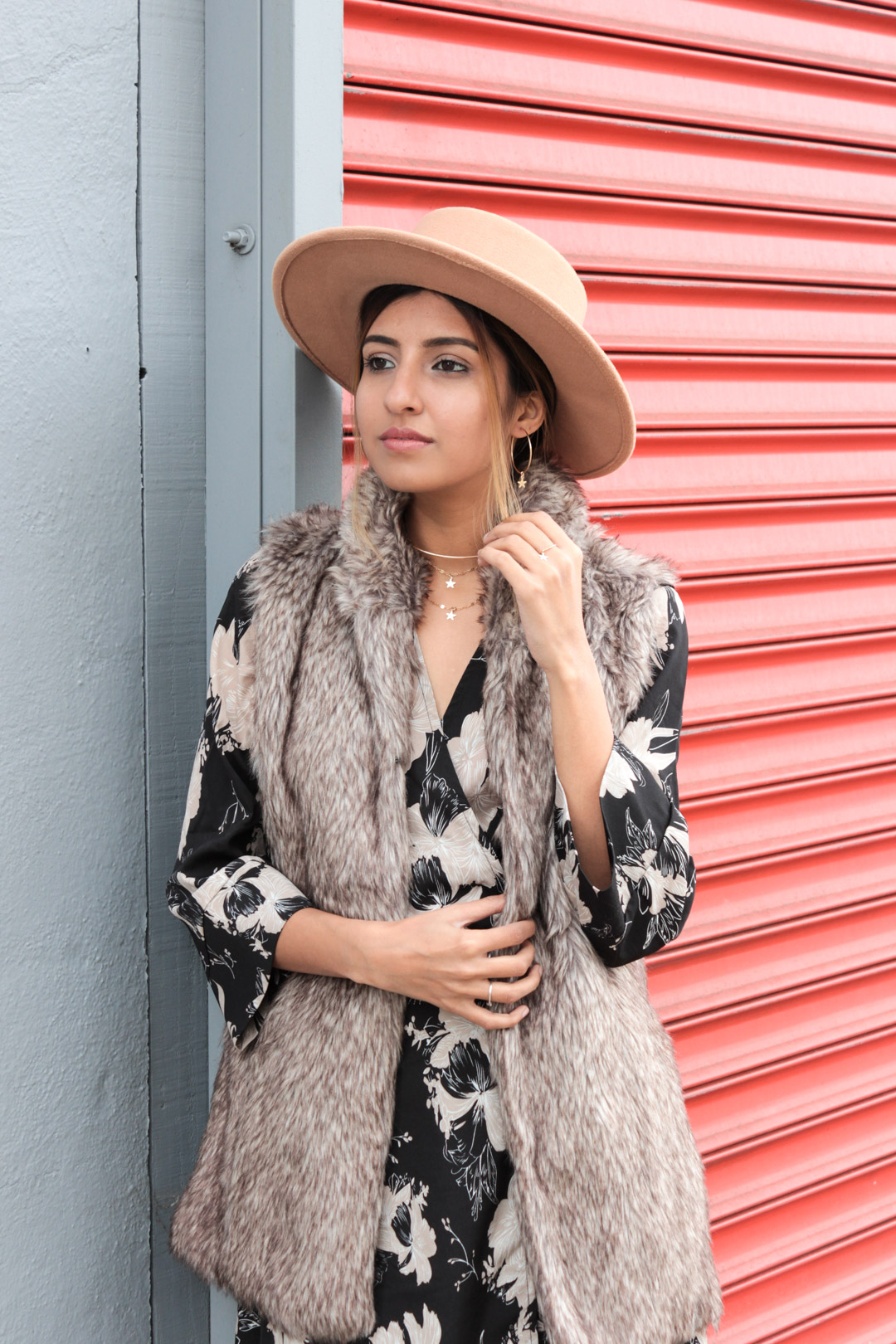 winter-florals-wrap-dress-faux-fur-vest-neutrals 2
