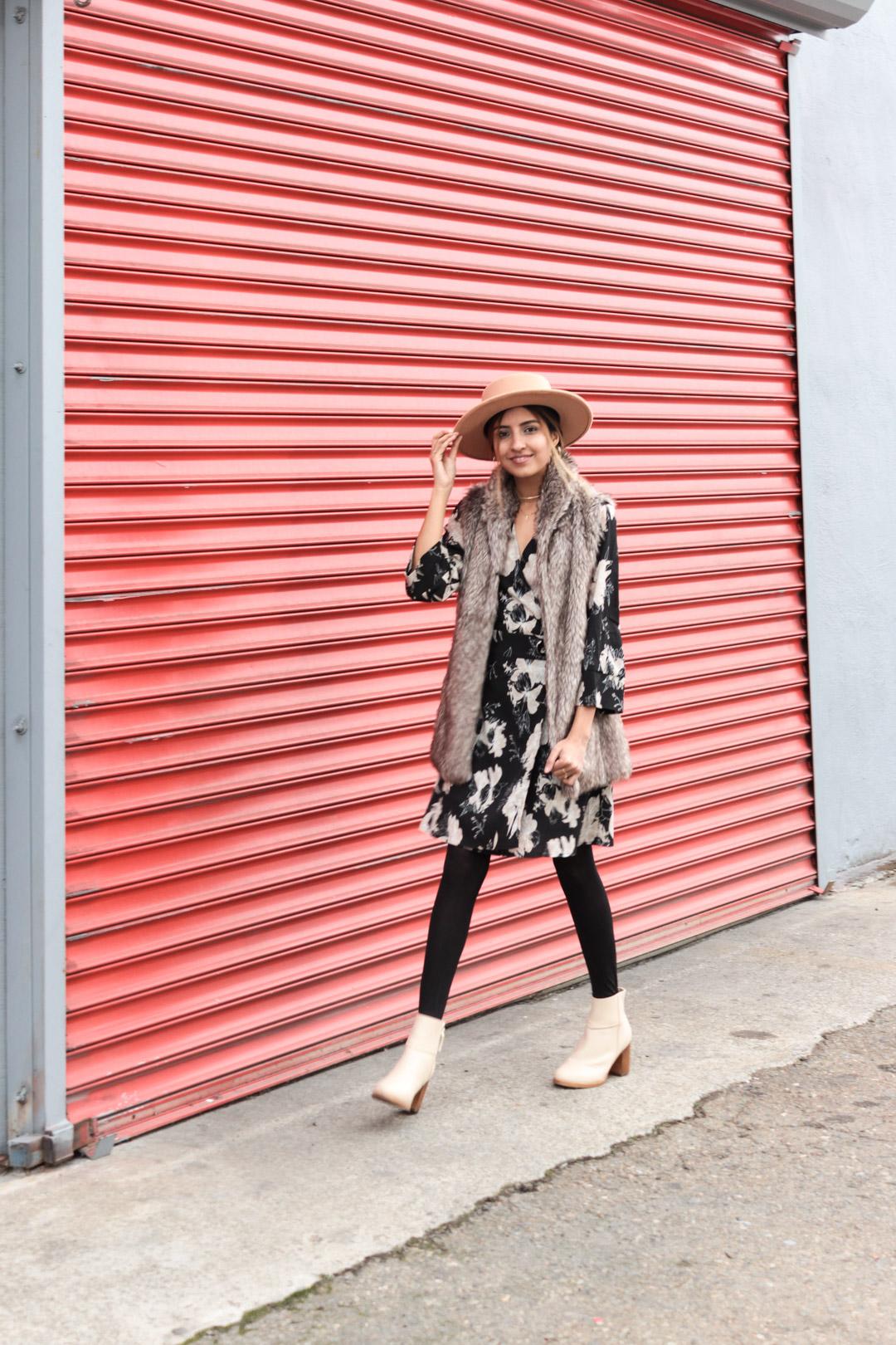 winter-florals-wrap-dress-faux-fur-vest-neutrals 6