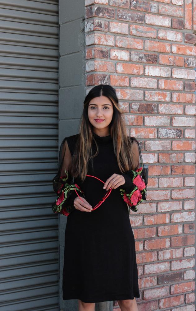 embroidered-sheer-sleeves-little-black-dress-blogger-fashion 2
