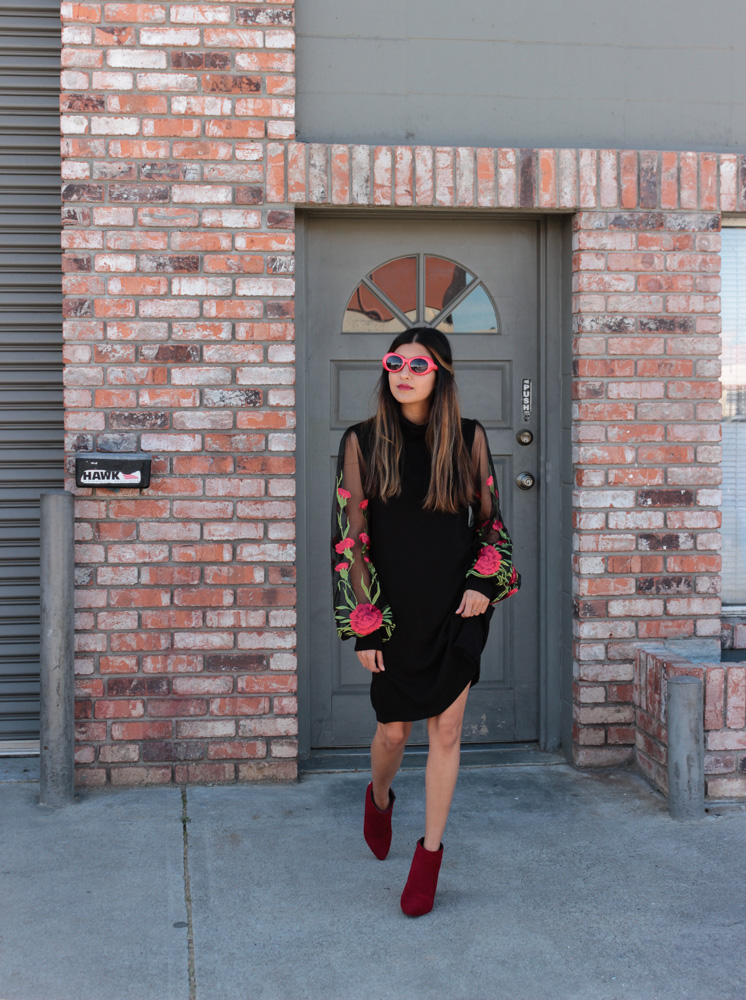 embroidered-sheer-sleeves-LBD-winter-blogger-style 3