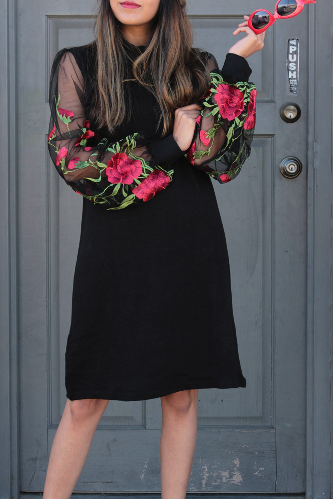 embroidered-sheer-sleeves-turtleneck-LBD-winter-style 6