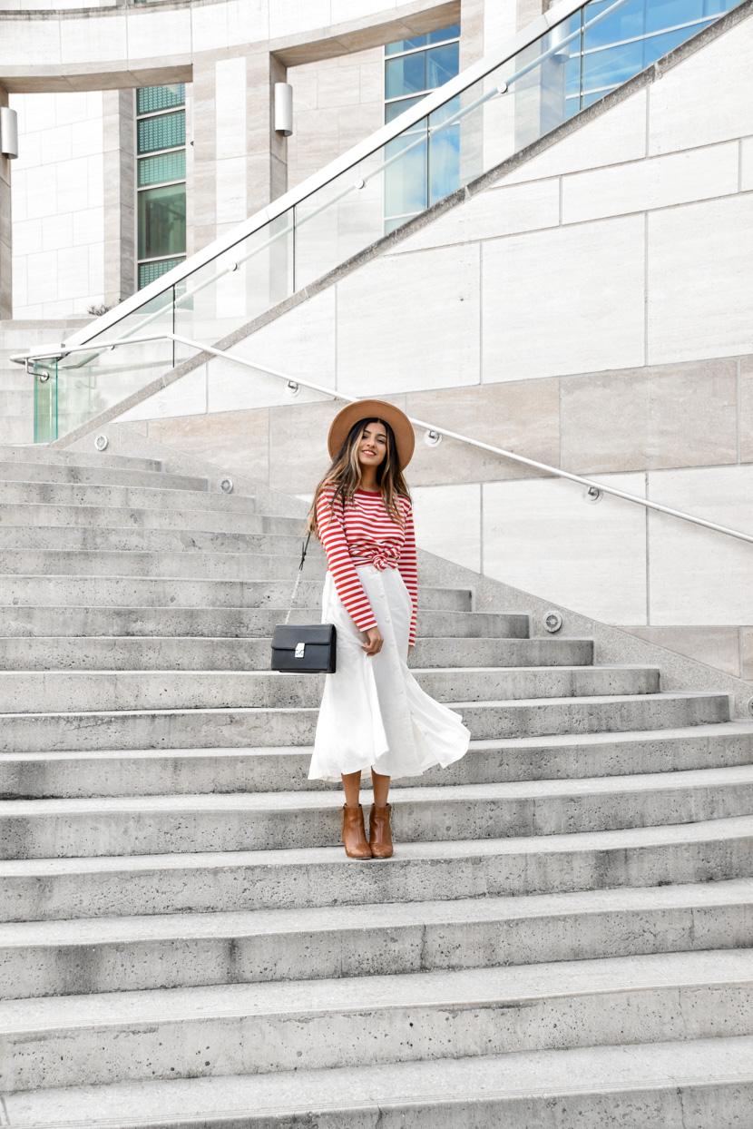 striped-tee-midi-skirt-spring-style-essentials 1