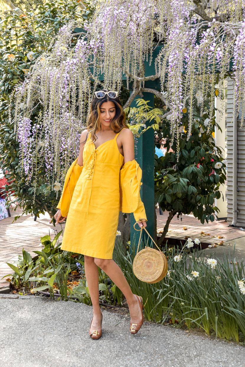yellow-spring-style-denim-dress 1