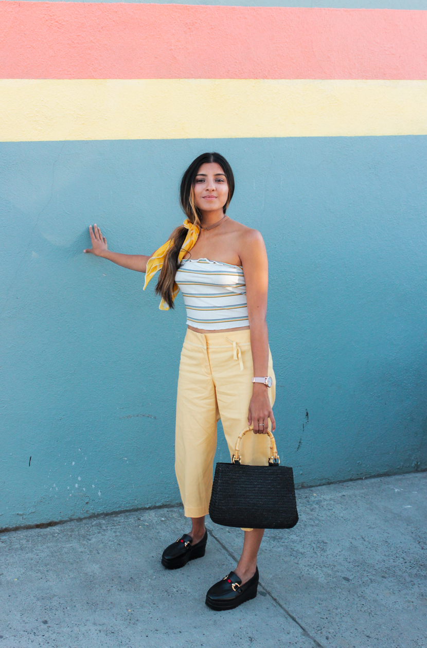 yellow-stripes-tube-top-outfit 3