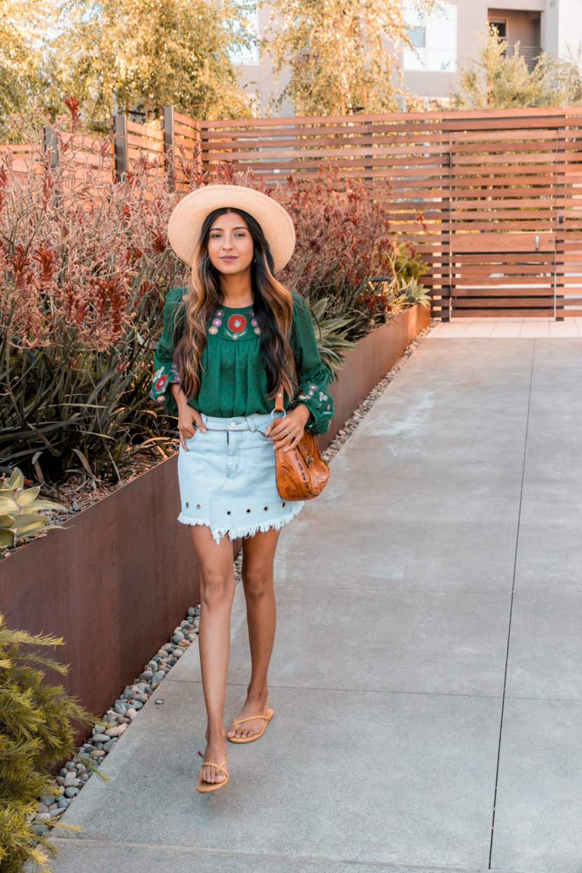 statement-sleeves-denim-skirt-blogger 3