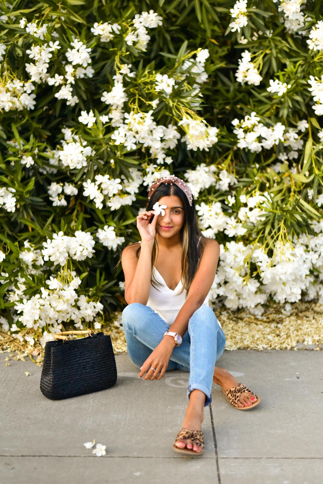 white-cami-jeans-pearl-headband-summer 3