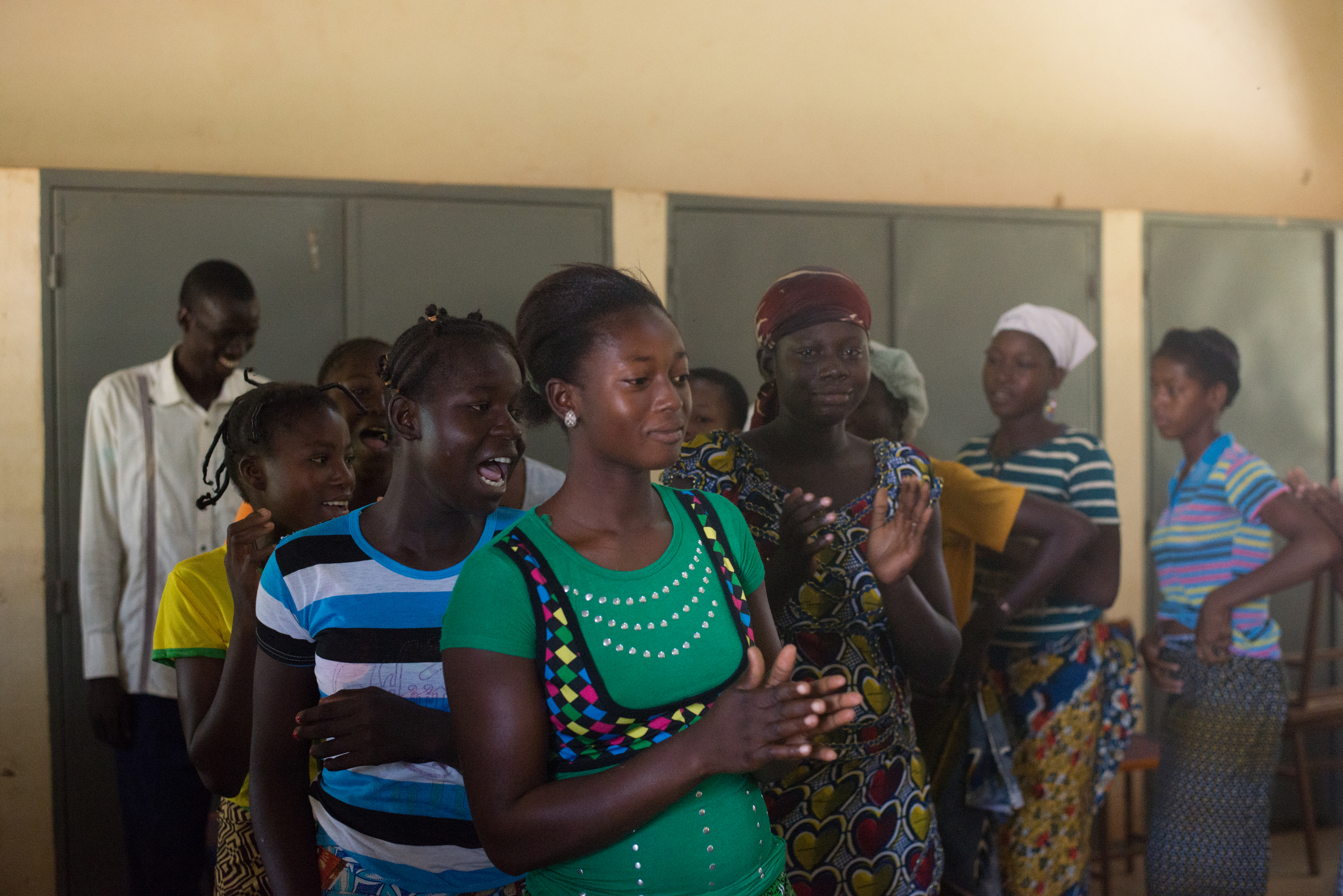 The girls dance at the the Center's opening mass