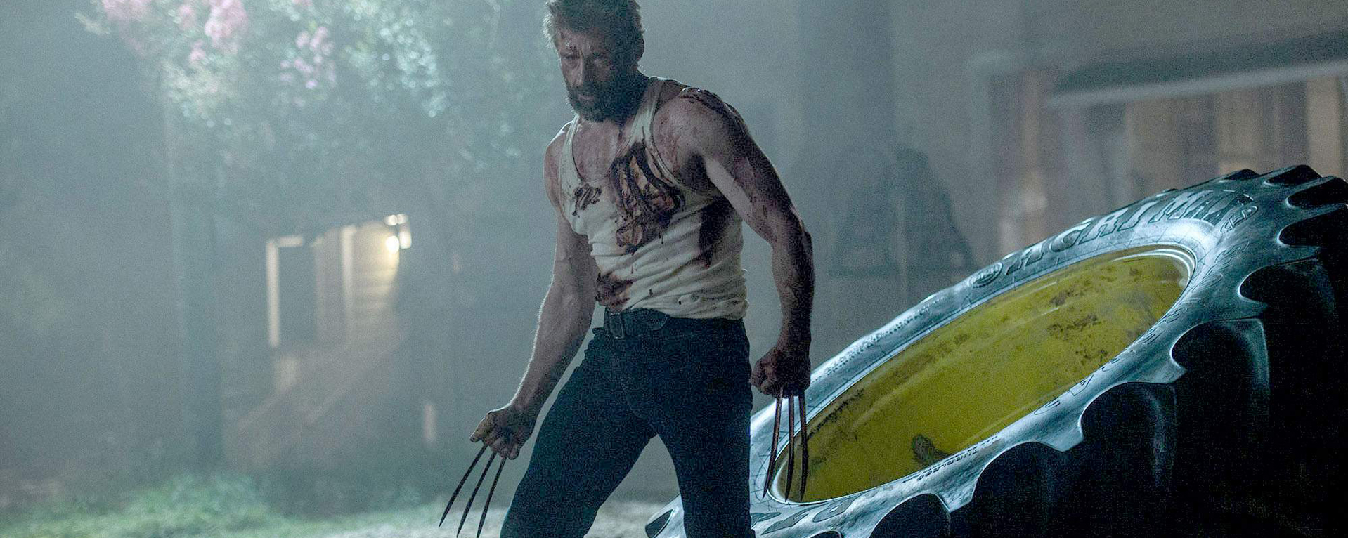Hugh Jackman as Wolverine, one last time in  Logan . He looks tired.