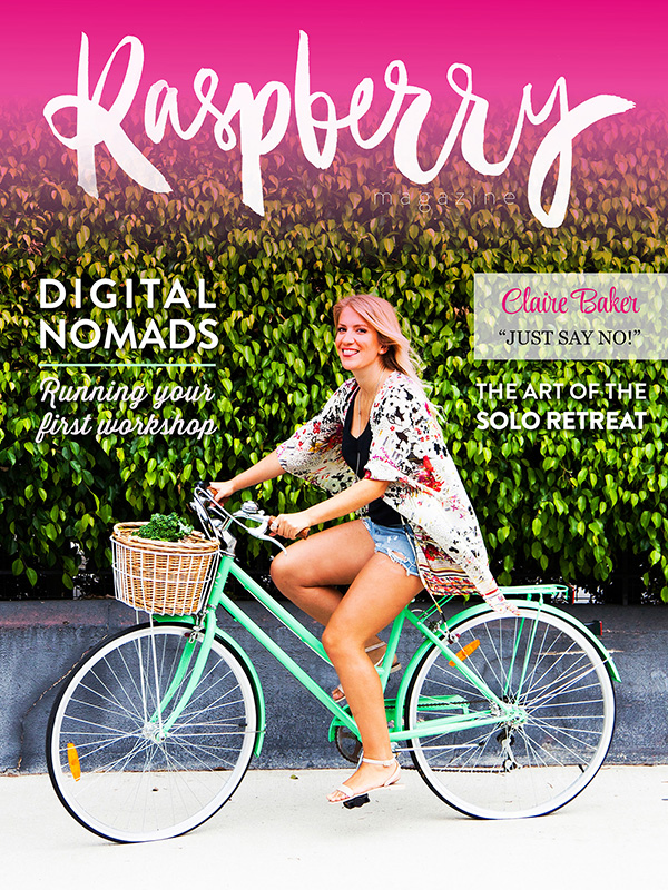 ISSUE ONE  ( download here )   COVER STORY // The inaugral issue features coach, blogger and menstruality mentor Claire Baker!   You don't find your writing voice (it ain't lost), you create it  by Kate Smyth   Holding your first workshop: five things you need to know  by Jade McKenzie (Event Head)   Digital nomads:  Elizabeth McKenzie, Vienda Maria, Amelia Lee, Elizabeth Kelsey Bradley   Paperless Office:  Smart swaps to reduce paper usage in your biz