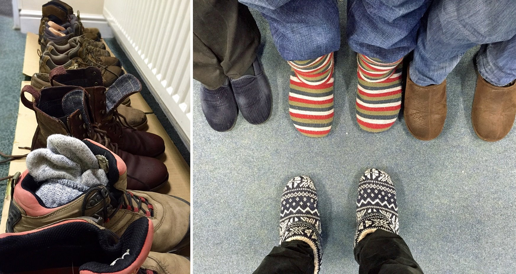 Snow boots were exchanged for slippers once in the shelter of the office.