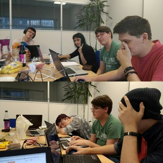 Dom and the Coffin Dodgers team at the start of the game jam, then again at the end...