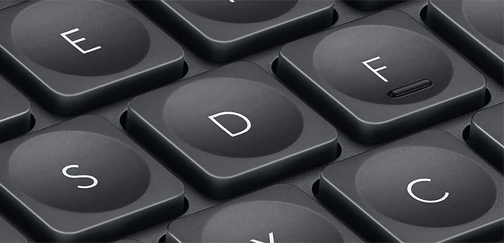 Key Innovation - Spherical dishing guides your fingers while you type and builds onto Logitech's new design language in a productivity focused way.