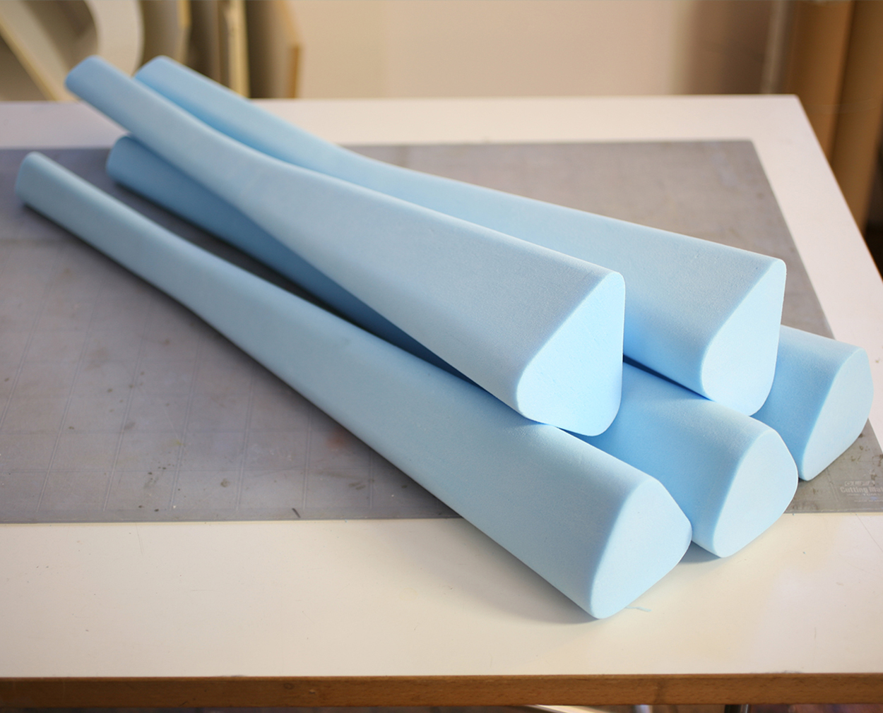 Finding the Form - Development consisted of numerous blue foam models to test ergonomic properties.It was important to create a concept, which felt appropriate for the heritage and legacy of the Games but at the same time light and modern, channelling the design aesthetic of Ed Barber and Jay Osgerby.