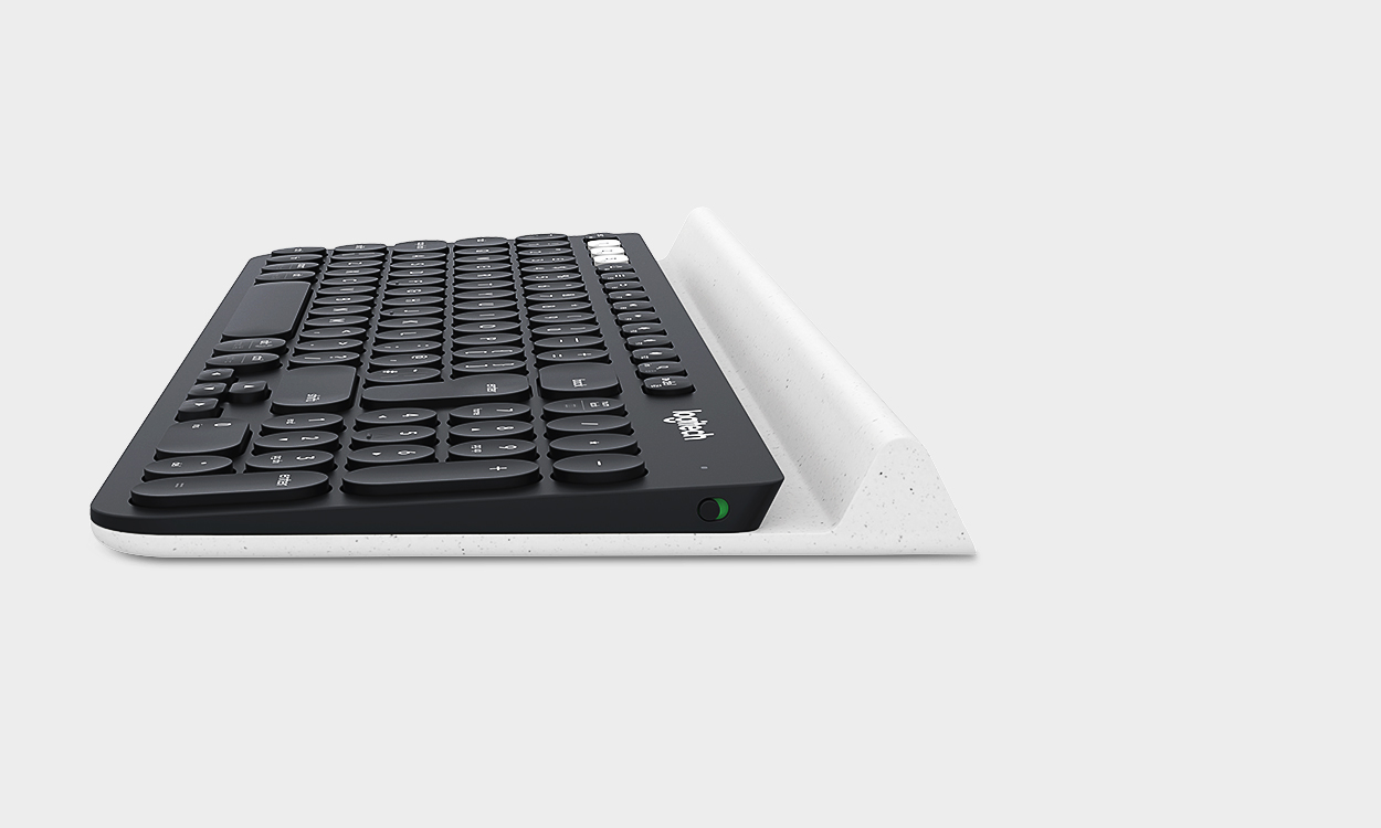 The right Materials - K780 uses two different materials to fulfill their purpose in an elegant way. The firm keys offer a silent, smooth and familiar typing with Logitech PerfectStroke™ key system. While the unique rubber cradle protects your devices and carefully holds everything from a smartphones to 12