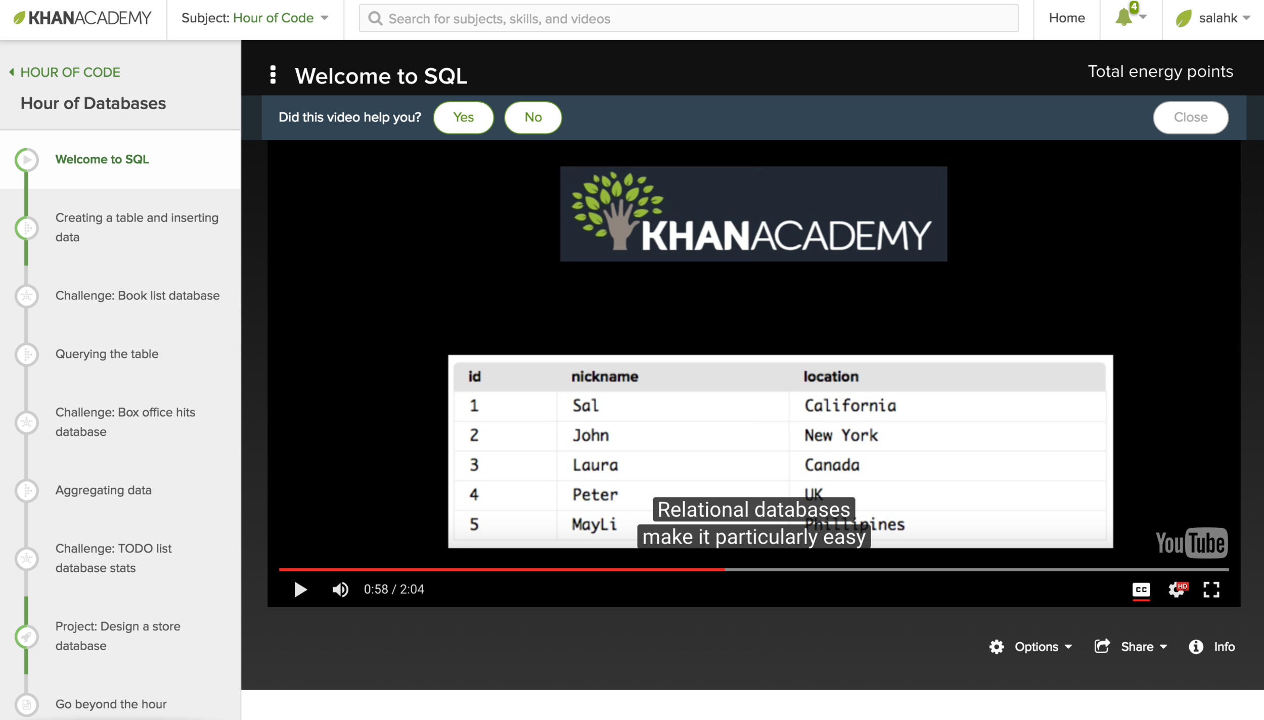 Khan Academy Hour of code Hour of SQL