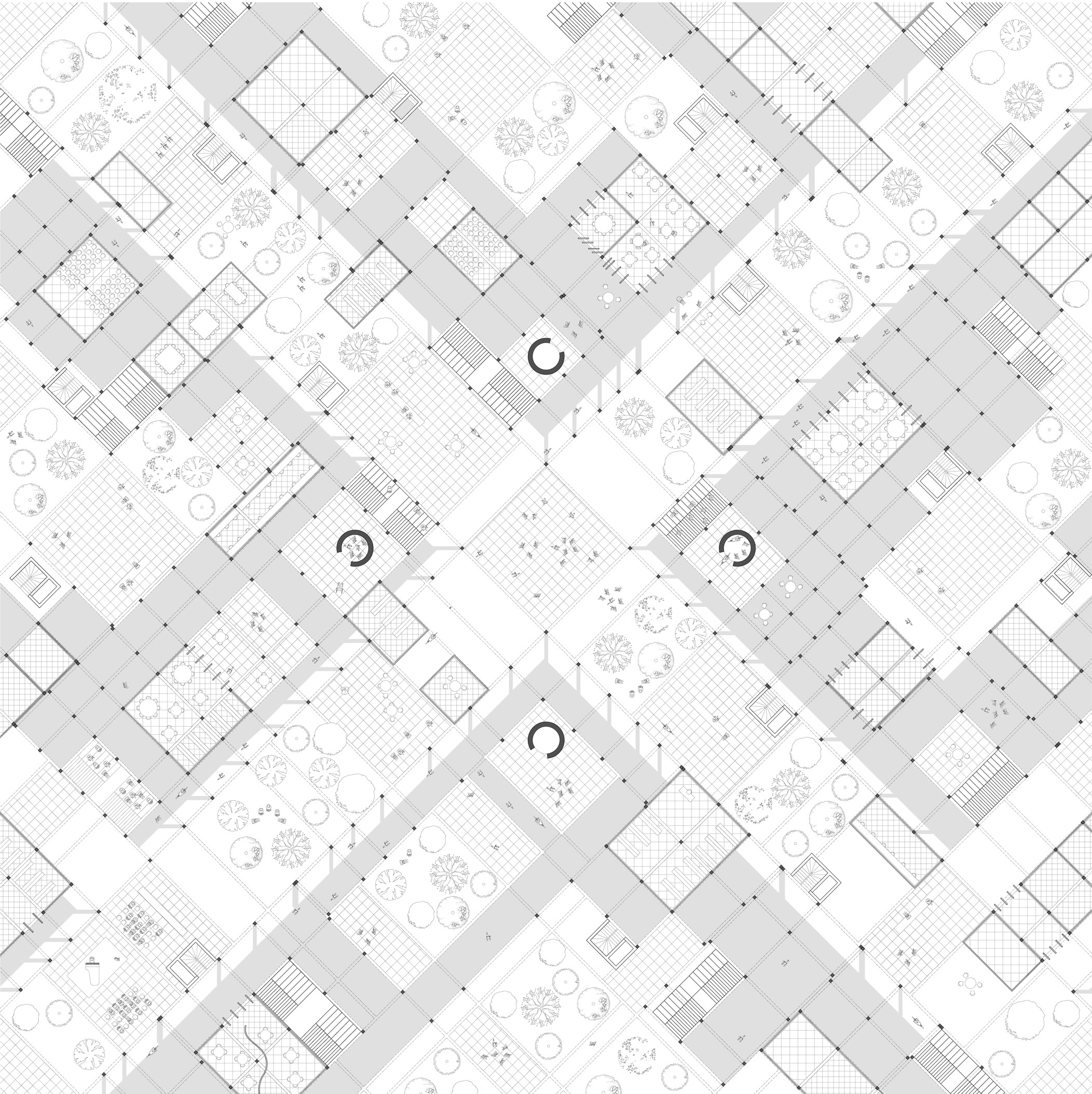 .Pedestrian Crossroad.    The condition presented is that of pedestrianized crossroad. The ground floor of the city expands in multiple directions within the continuity that the pilotis suggests. Axes of movement coexist with places of stasis while nature is dispersed equally around the city.