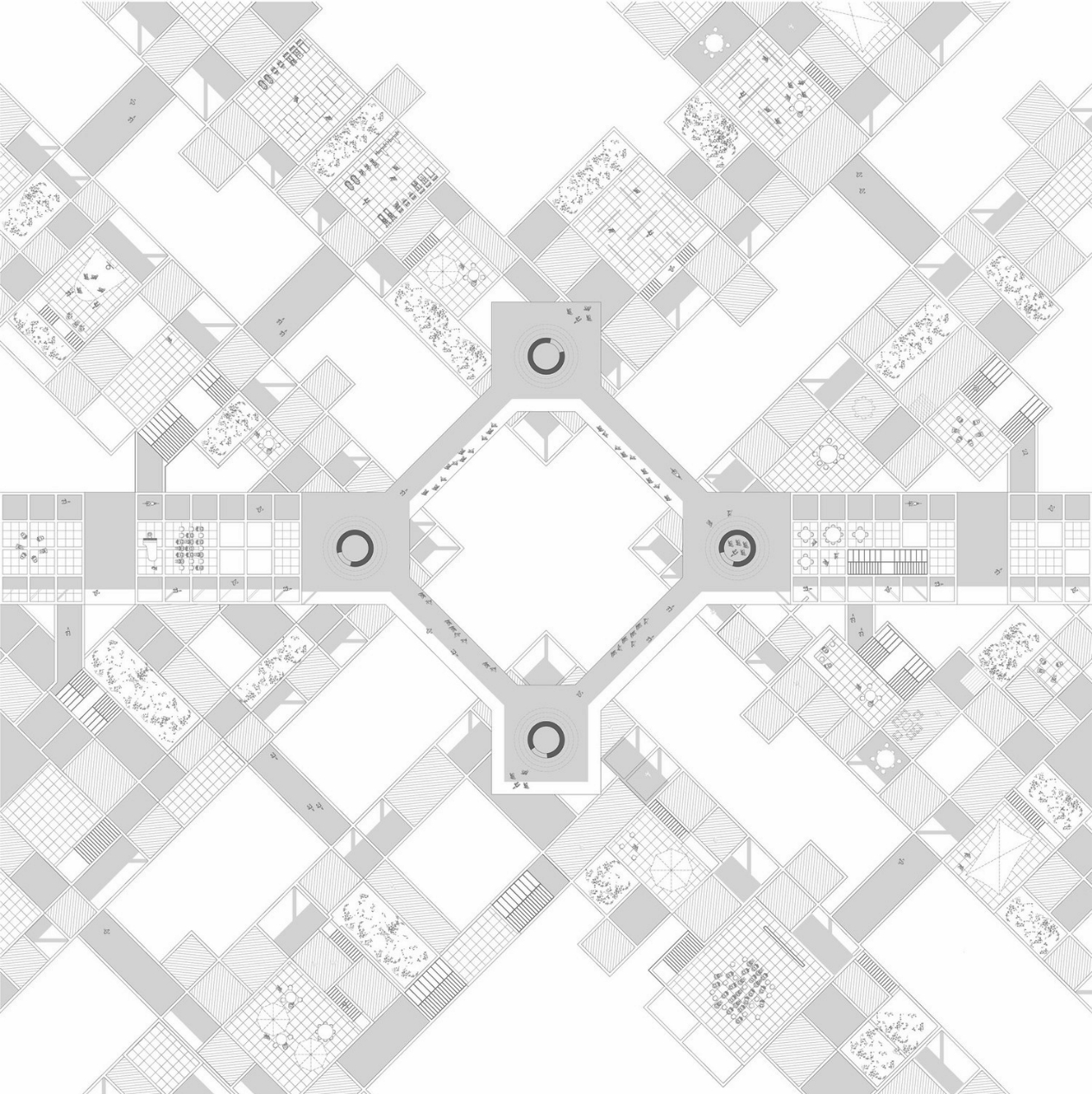 .Bridge Plan.   The new network is composed by the movementpatterns above the city level. These elevatedstreets take the form of bridges that act as connectorsbetween different Sectors. They are completelyautonomous from the automotive movement andspan over the pre-existing urban structure.