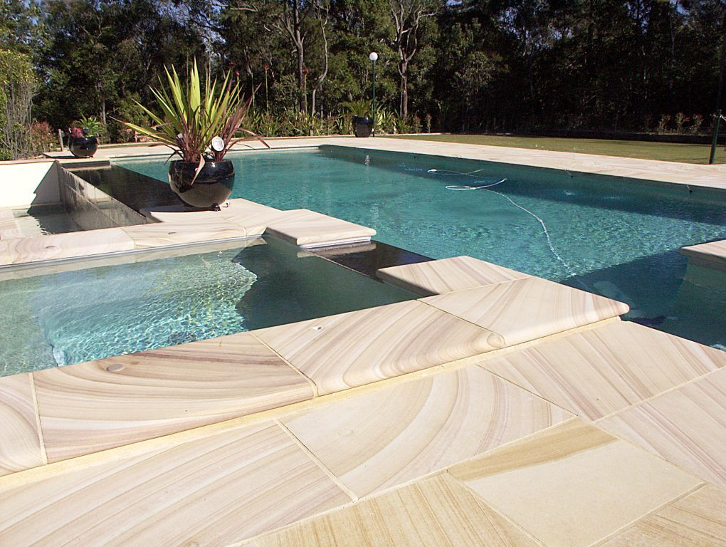MTW Brown Range Sawn paving and Bullnosed pool coping