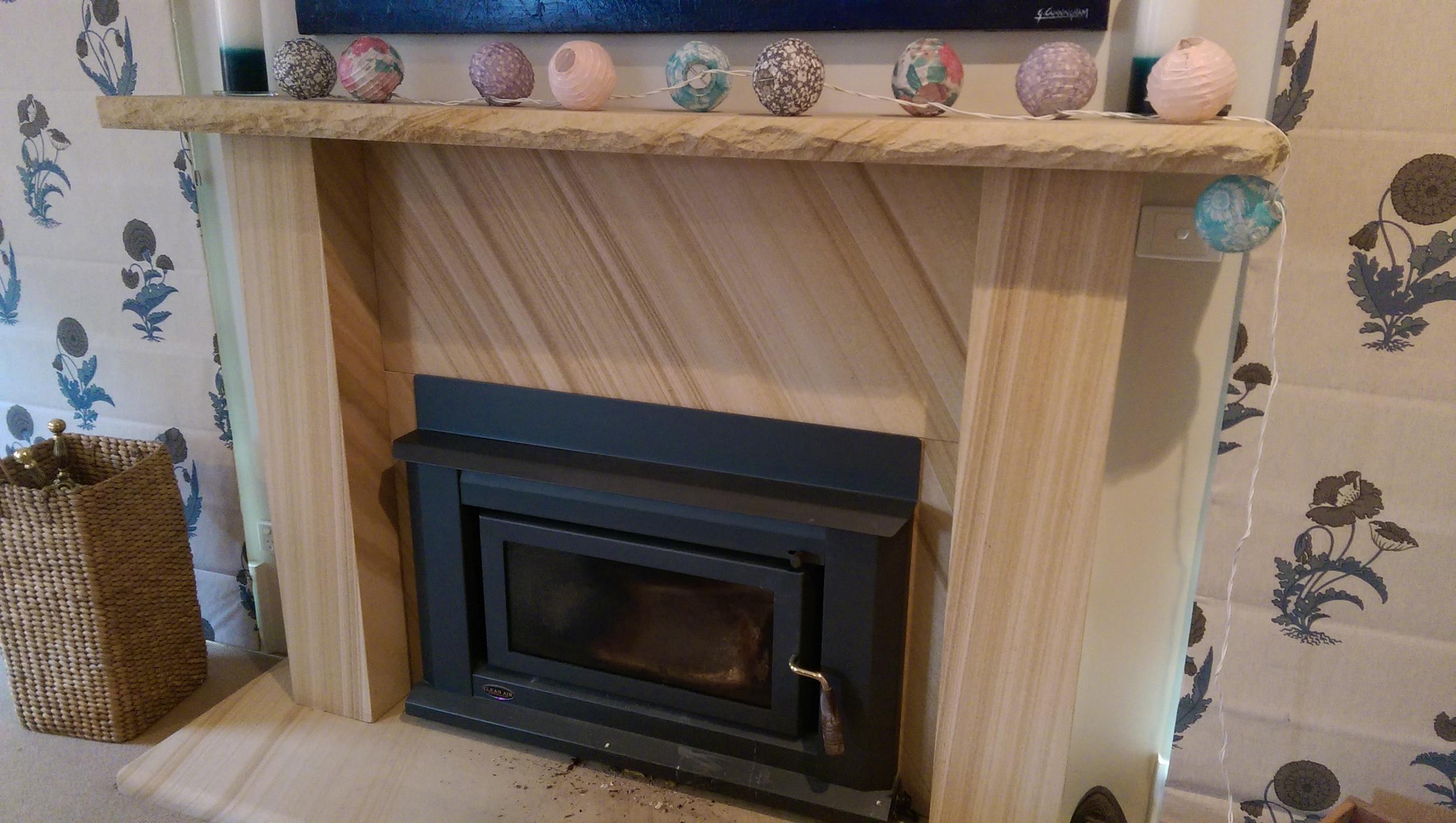Medium Brown Sawn fireplace