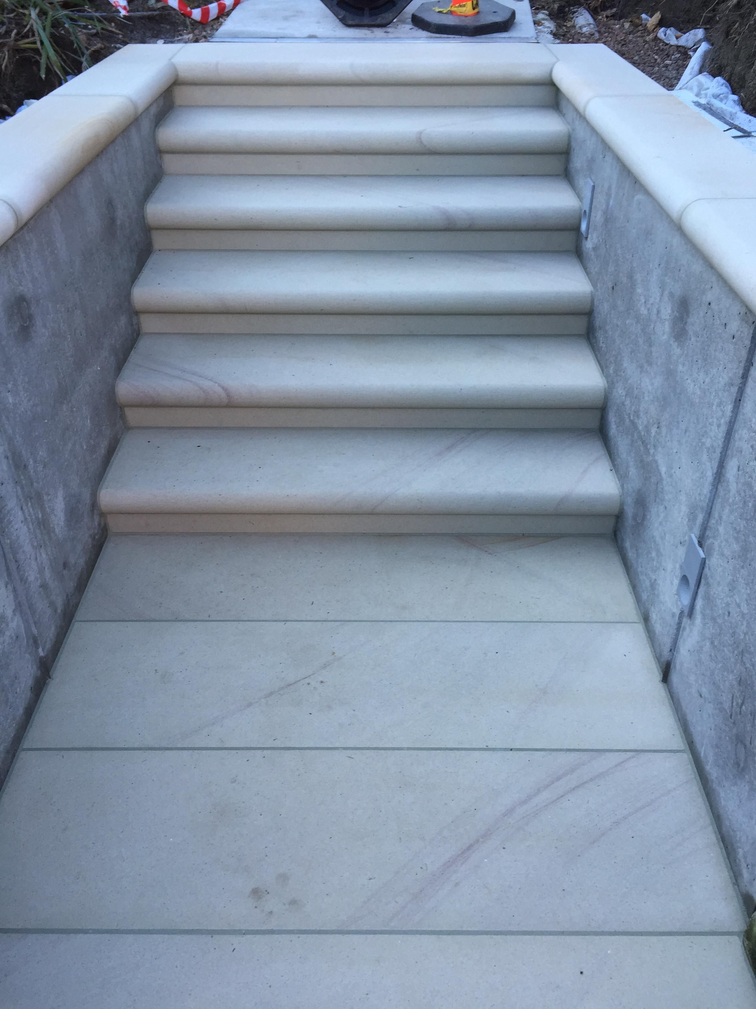 White-very light pink steps pavers bullnosed- elite stonemasons Woolstonecraft project (1).JPG