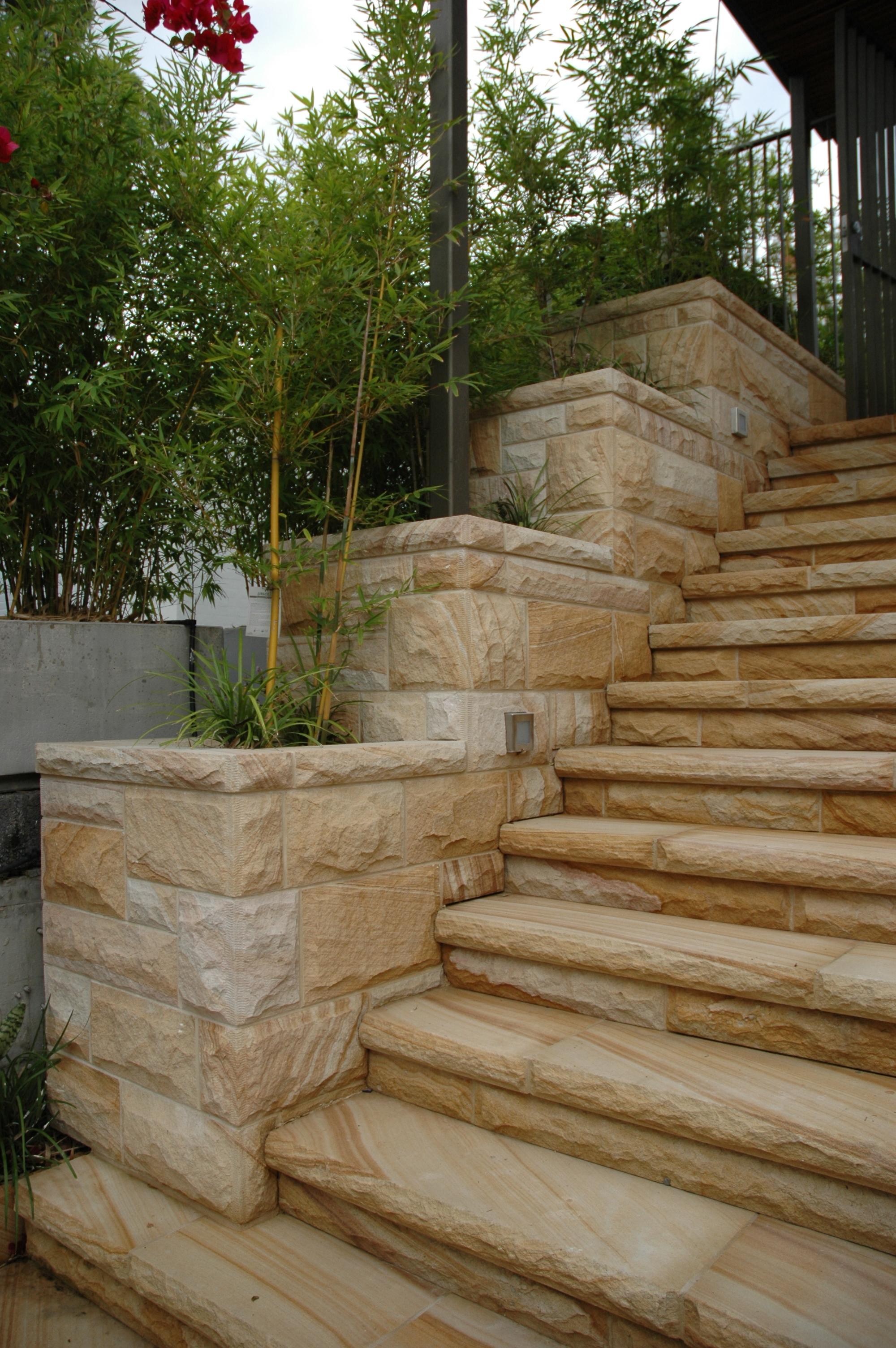 medium brown Random Square rockfaced cladding and stair case details rockfaced steps garden edge planter box- Artistry in Sandstone (6).JPG