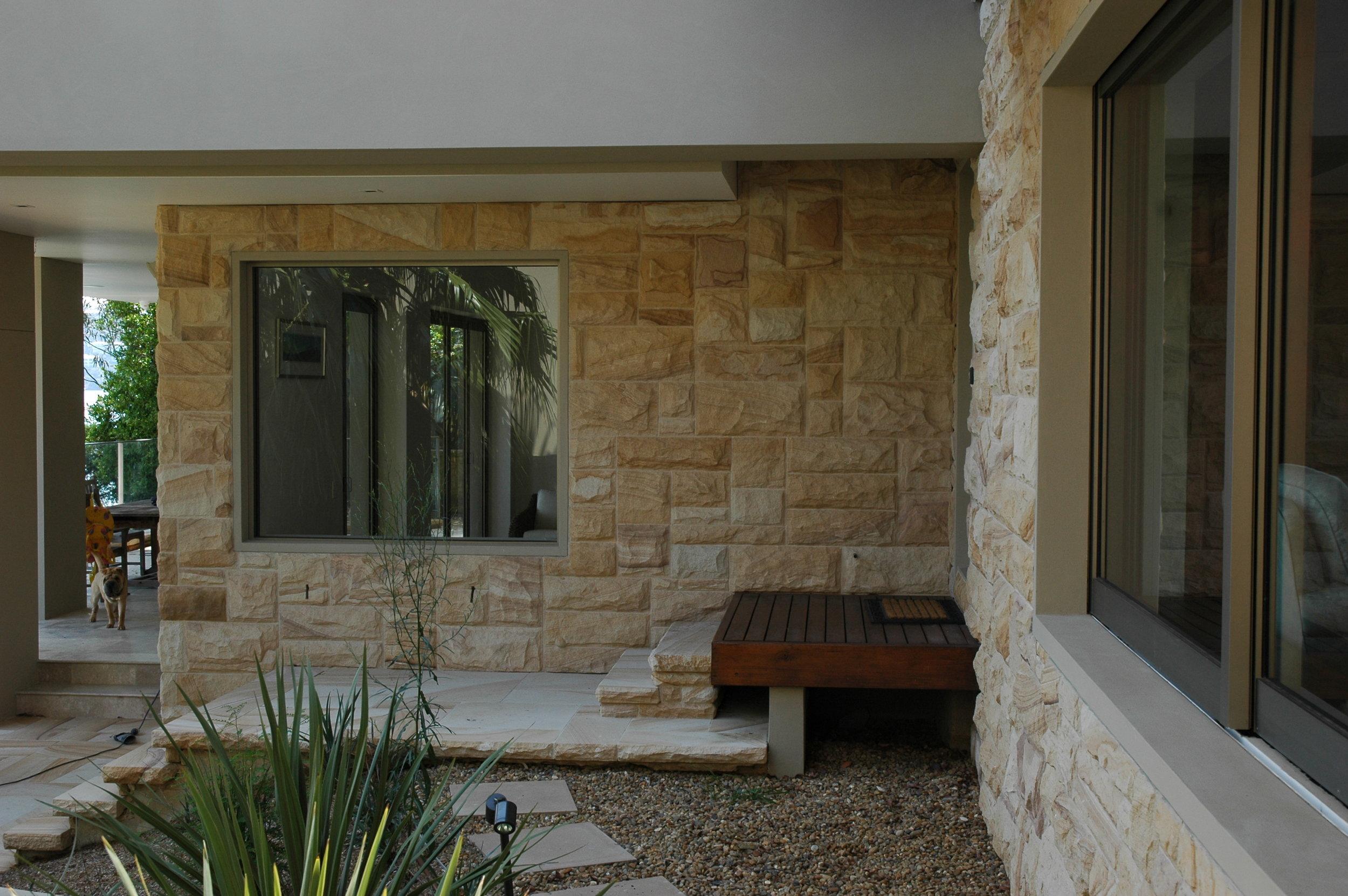 Medium brown random square rockfaced cladding and step detail - Artistry in stone (2).JPG