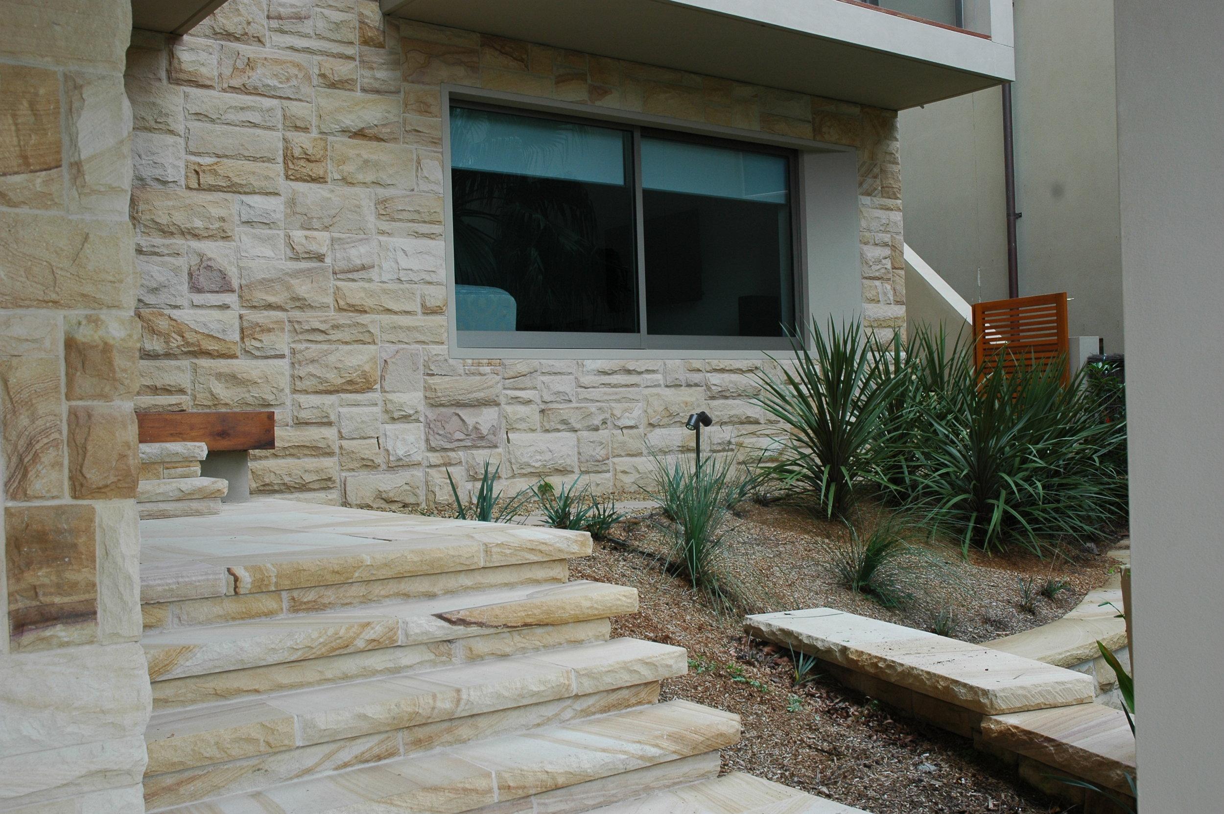 Medium brown random square rockfaced cladding and step detail - Artistry in stone (3).JPG