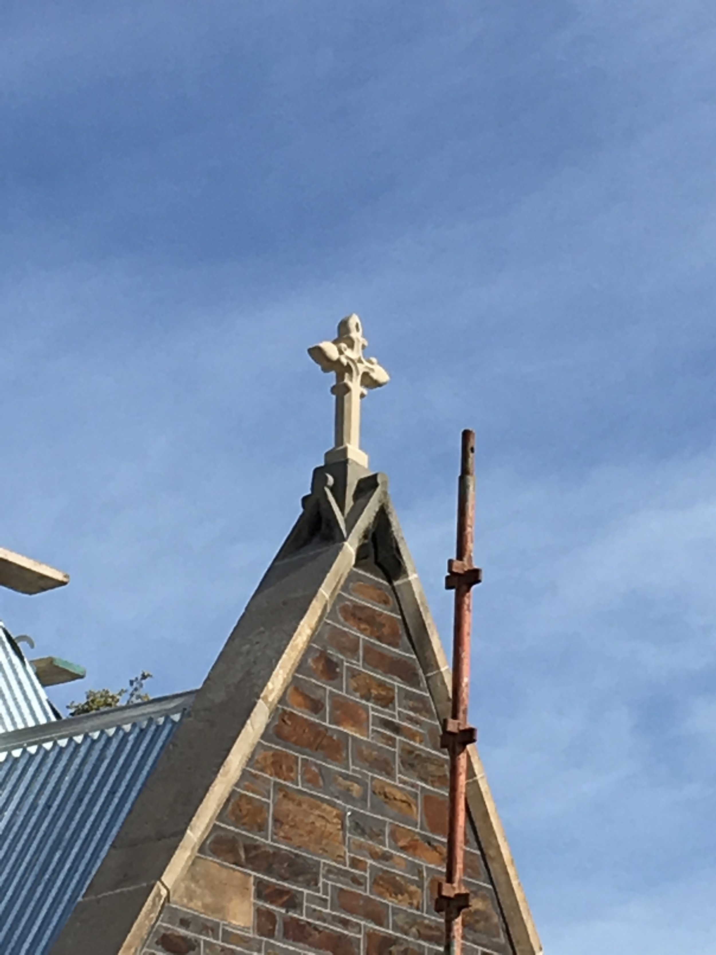 Marble HIll-Adelaide Hills project -piles creek cream- sawn profiled heritage restoration cross installed .jpg