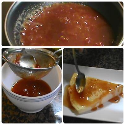 Caliento la mermelada de tomate y la tamizo. Cuando se enfria se ESPESARÁ
