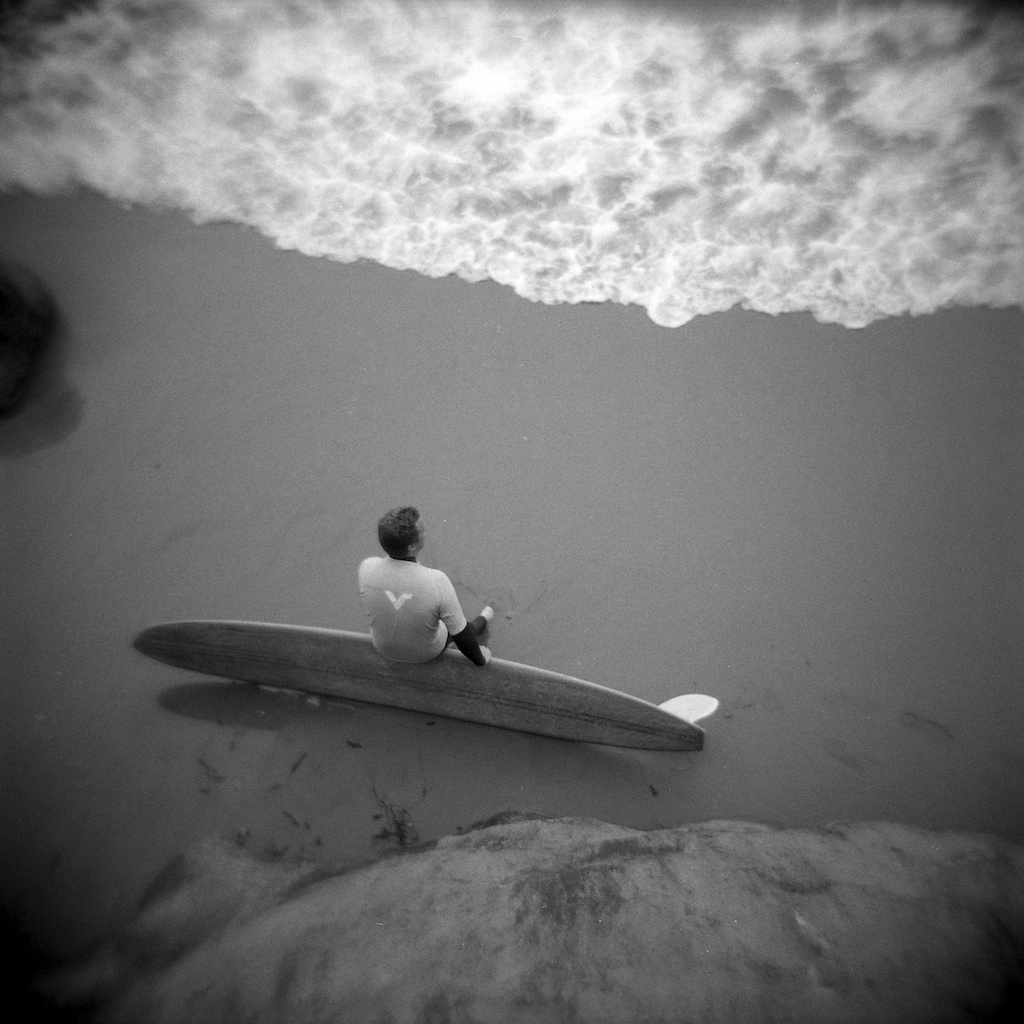[#037408] Longboarder waiting for his heat, Santa Cruz, USA, 2013