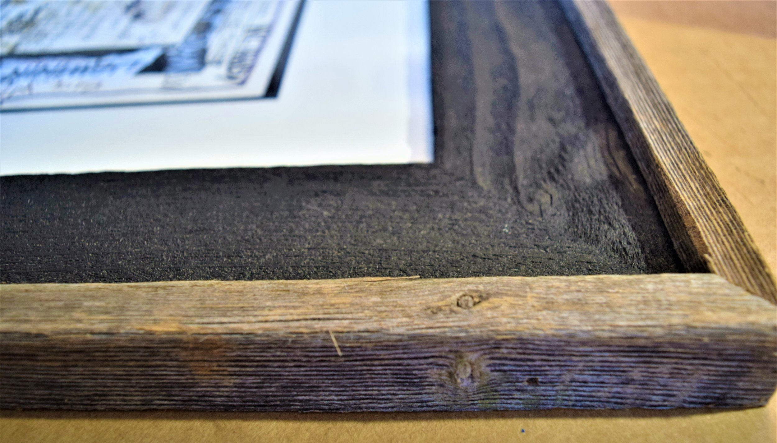 Matting and Authentic Barnwood Custom Picture Framing