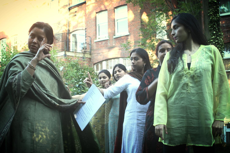 Sangeeta Datta directing dancers during rehearsals for Gitanjali.