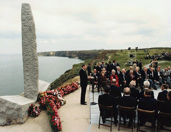 "Ronald Reagan said this of the boys of Pointe du Hoc: ""Here, in this place where the West held together, let us make a vow to our dead. Let us show them by our actions that we understand what they died for. Let our actions say to them the words for which Matthew Ridgway listened: ``I will not fail thee nor forsake thee.''"