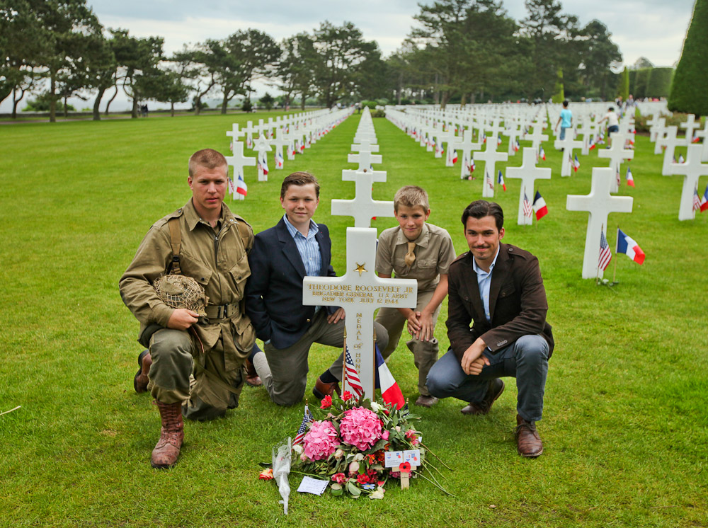 At the grave of Theodore Roosevelt Jr who survived the D-Day landing only to die of a heart attack on July 12, 1944