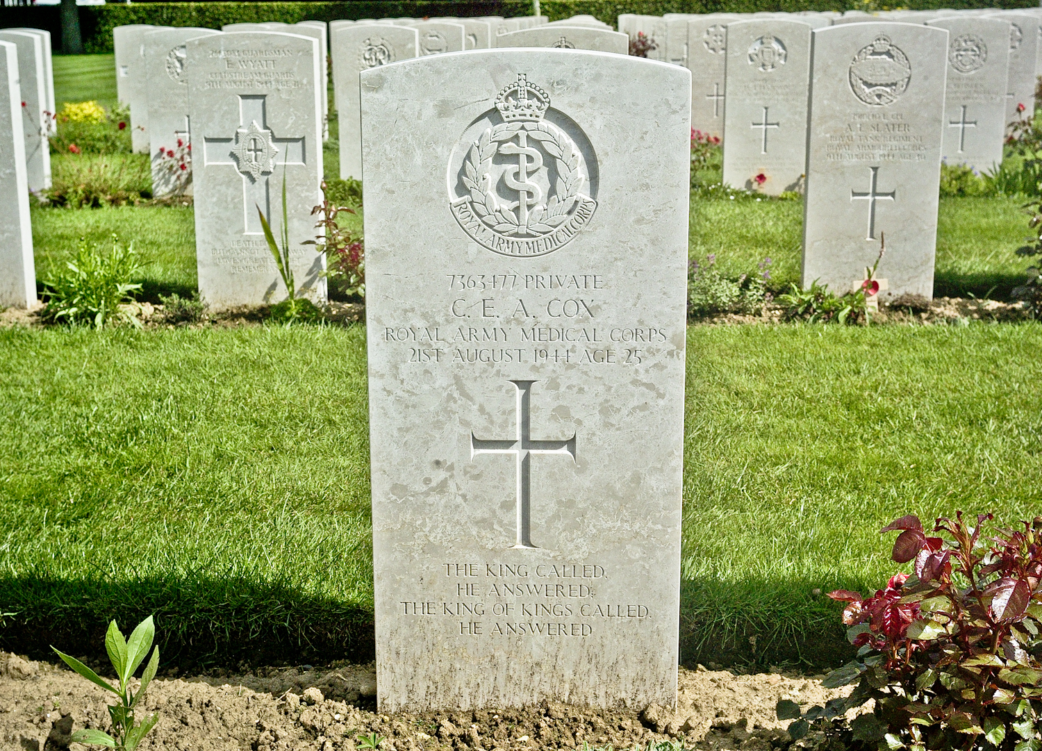 """""""The King called. He answered. The King of Kings called. He answered."""" Grave of C.E.A Coxat the British War Cemetery in Bayeux."""