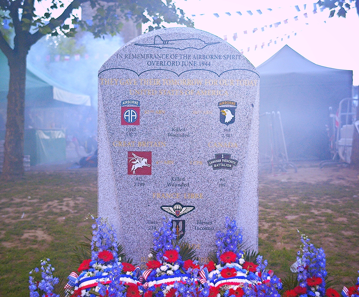 The Monument to the Allied Airborne which liberated the town of St. Mere Eglise on June 6th, 1944.