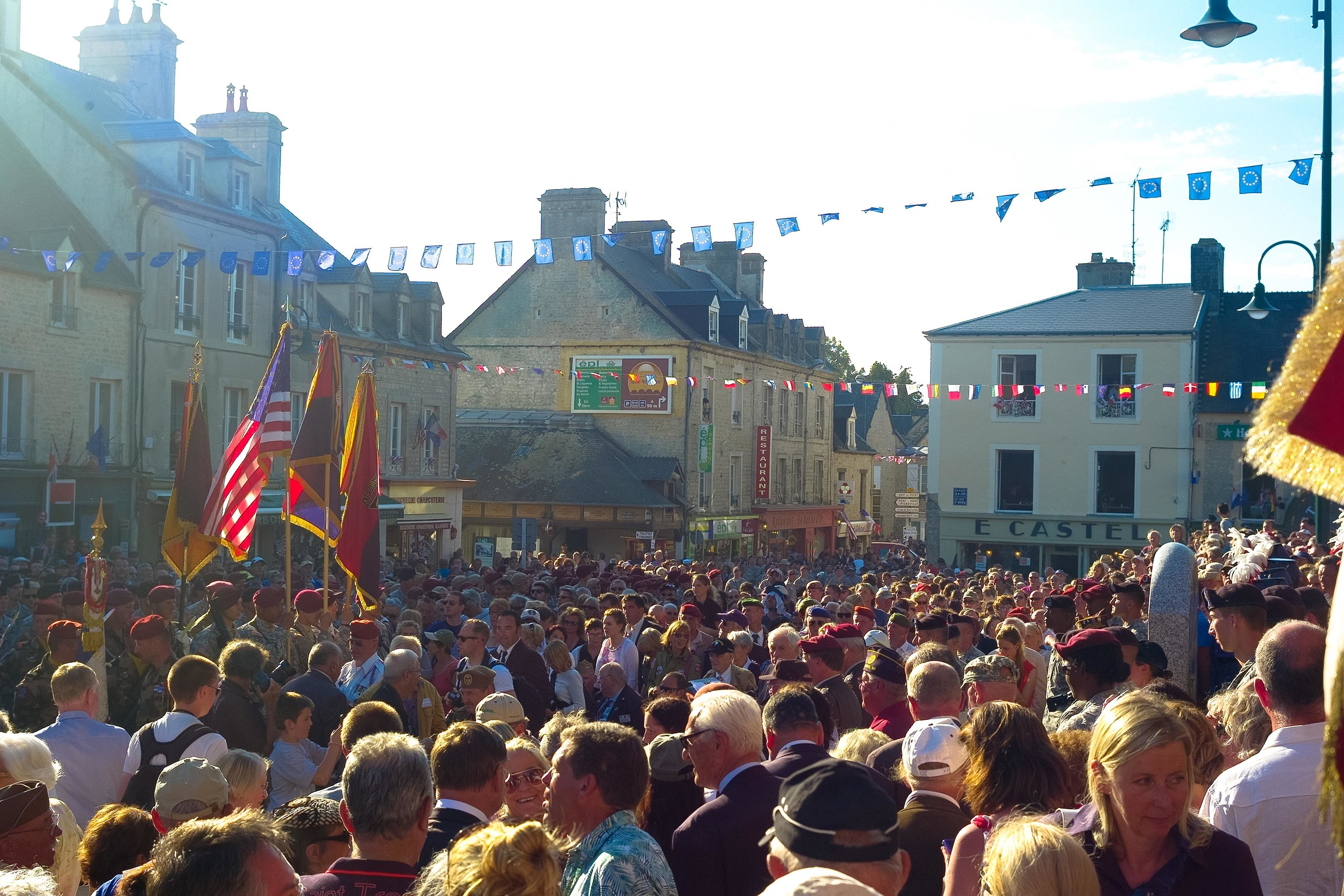 During the ceremony, the square was packed with thousands of people, all there to honor the Allied Paratroopers.