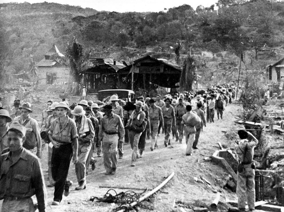 70,000 American, Philippine, and British POWS were taken on a brutal march in which thousands died along the way.