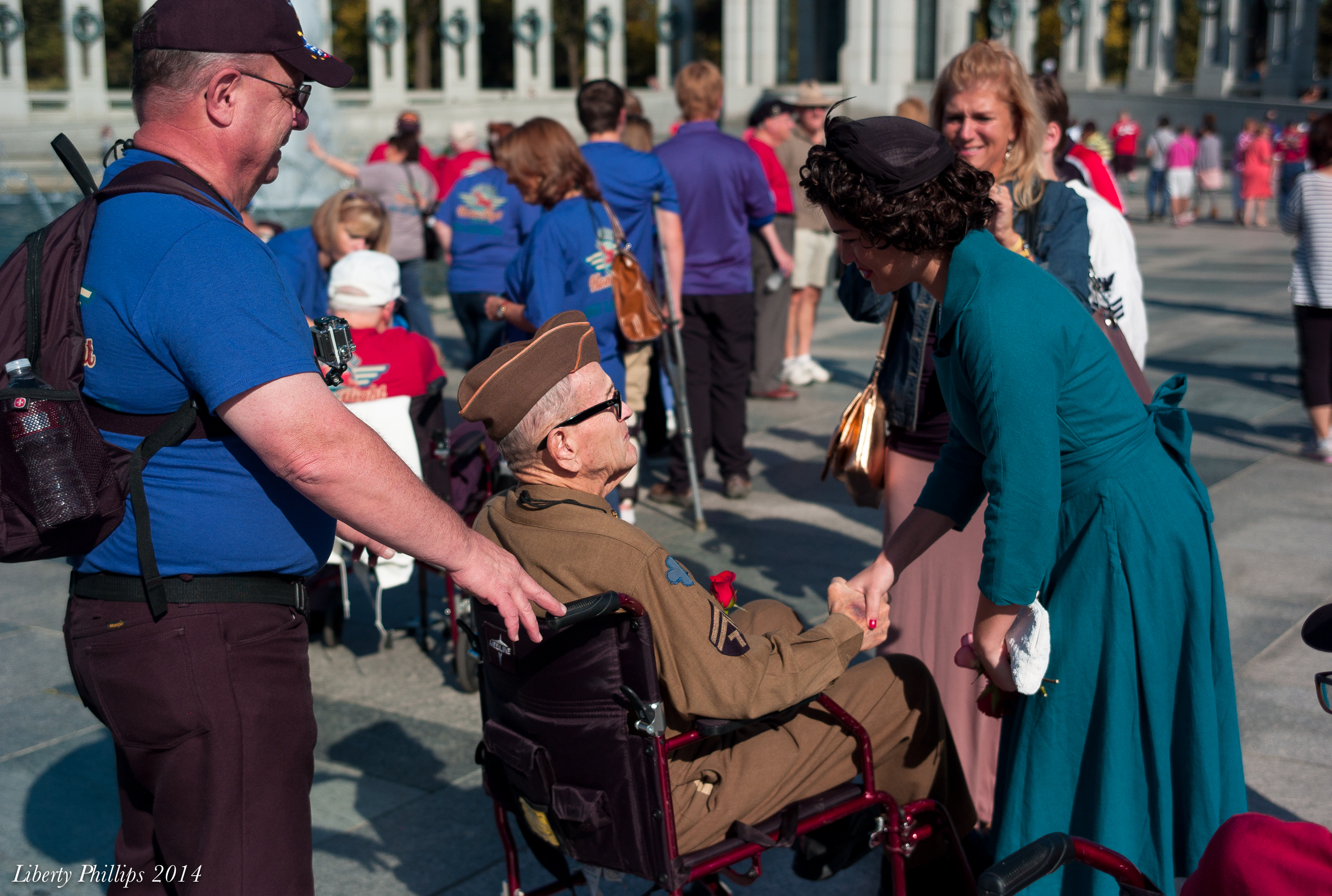 This veteran Jubilee is greeting is wearing his original uniform from WWII.