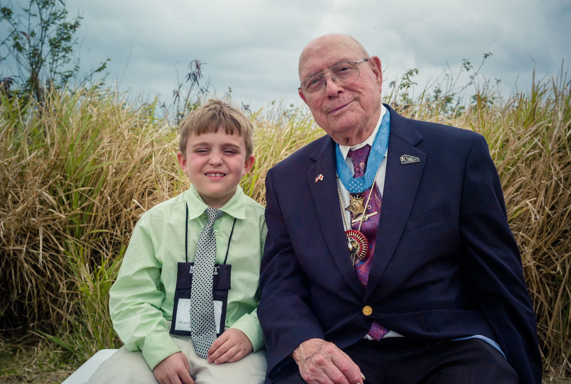 Hershel W. Williams MOH with his great-grandson on Iwo Jima
