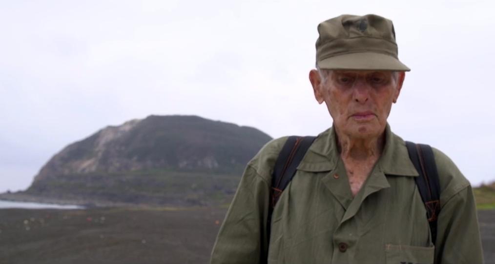 Jim Skinner USMC on the beach where he landed in 1945