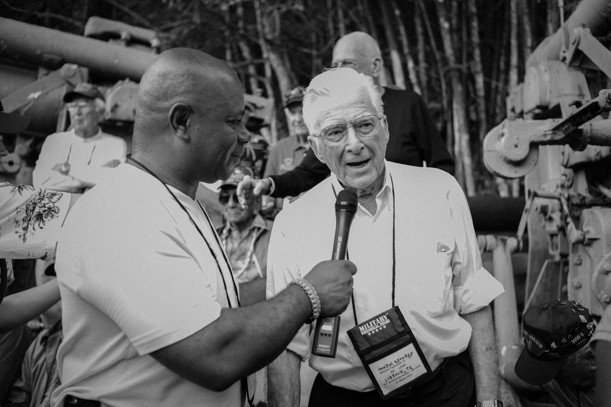 David Webb (David Webb Show) interviewing Iwo Jima veteran Bill Pasewark