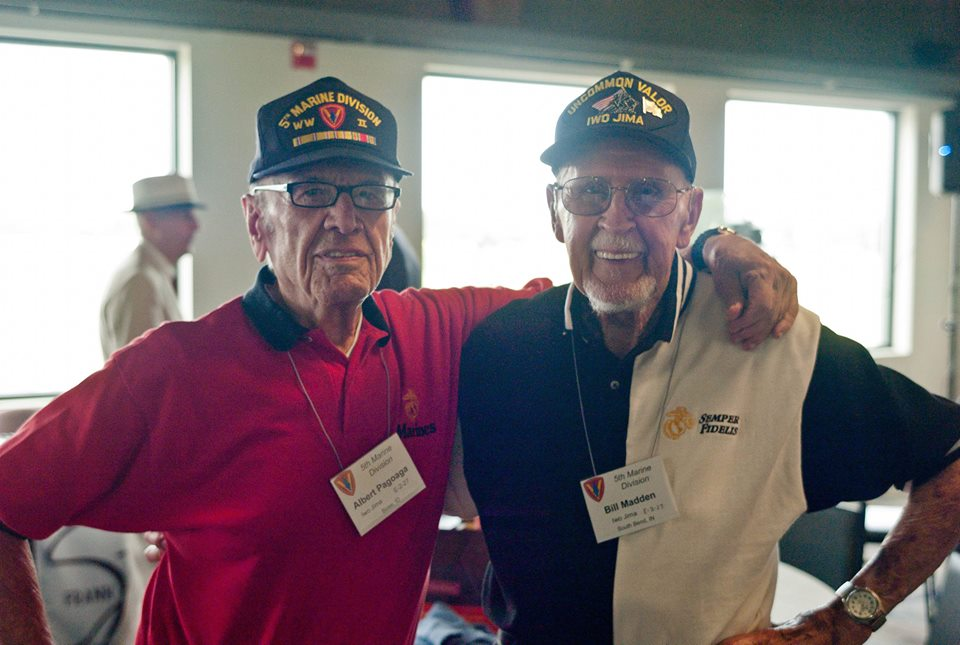 Marine Corps buddies, Al (left) saved the life of Bill on Iwo, shortly before being wounded himself.