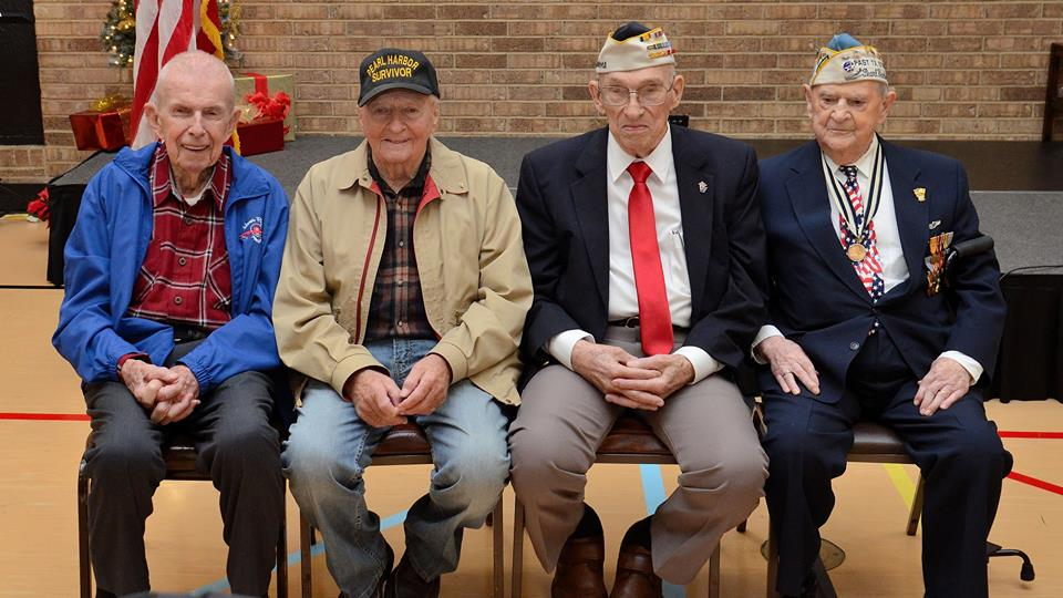 Our 3 fabulous Pearl Harbor veterans and 1 Philippine veteran. (Photo Credit: Joe Schneider)