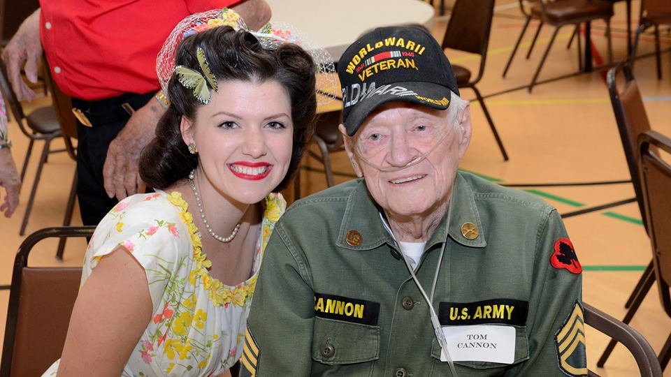 Faith with Army veteran, Tom Cannon, at our monthly luncheon in Dallas/Fort Worth.