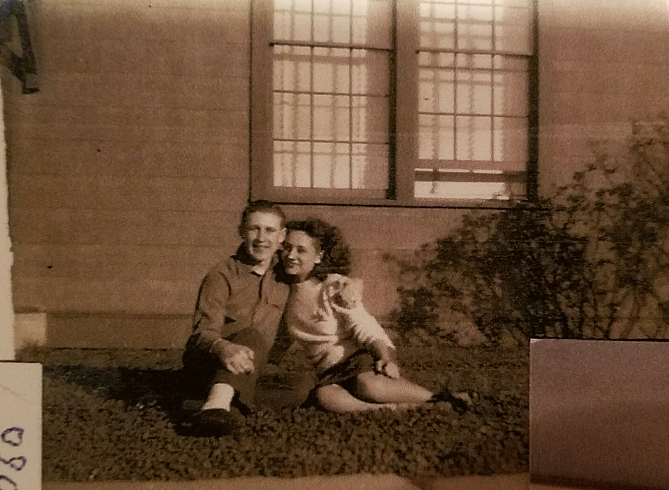 Reunited again! This photo of Bill and Phyllis was taken at the hospital where Bill was recuperating from wounds he received on Iwo Jima.