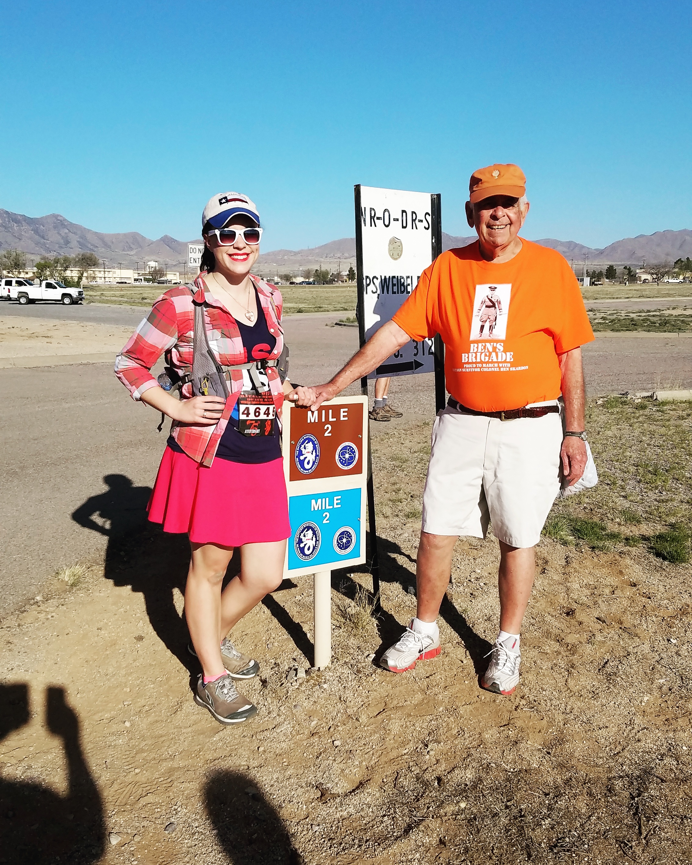 """Mile 2 was my last mile with the wonderful members of Ben's Brigade, and Col. Ben himself. Right before heading out, I had to get a quick photo with the mile-marker, and longtime friend of Col. Ben, Steve Griffith. Friends for over 60 years, the secret? """"Keeping in touch. You have to stay in touch."""""""