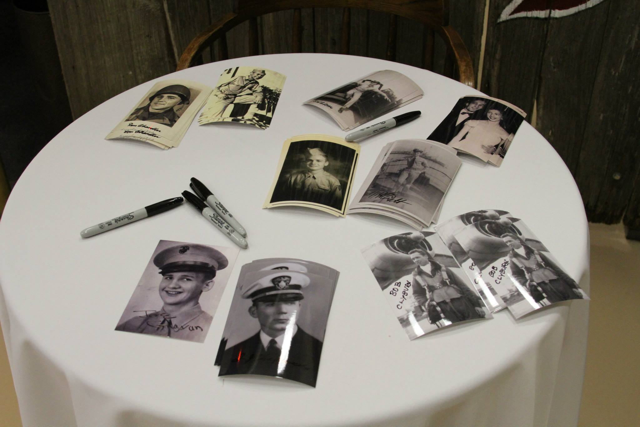 We had photos printed out for the veterans to sign, as souvenirs for the guests