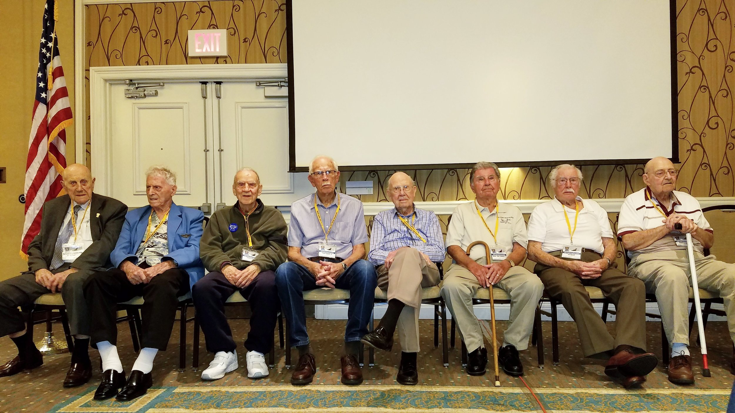 The remarkable men of the 449th Bomb Group Reunion. Nearly all of the men pictured flew between 42 and 51 bombing missions during the war, several of them surviving crashes, and a few becoming POWs on the Eastern front. Brave men indeed.
