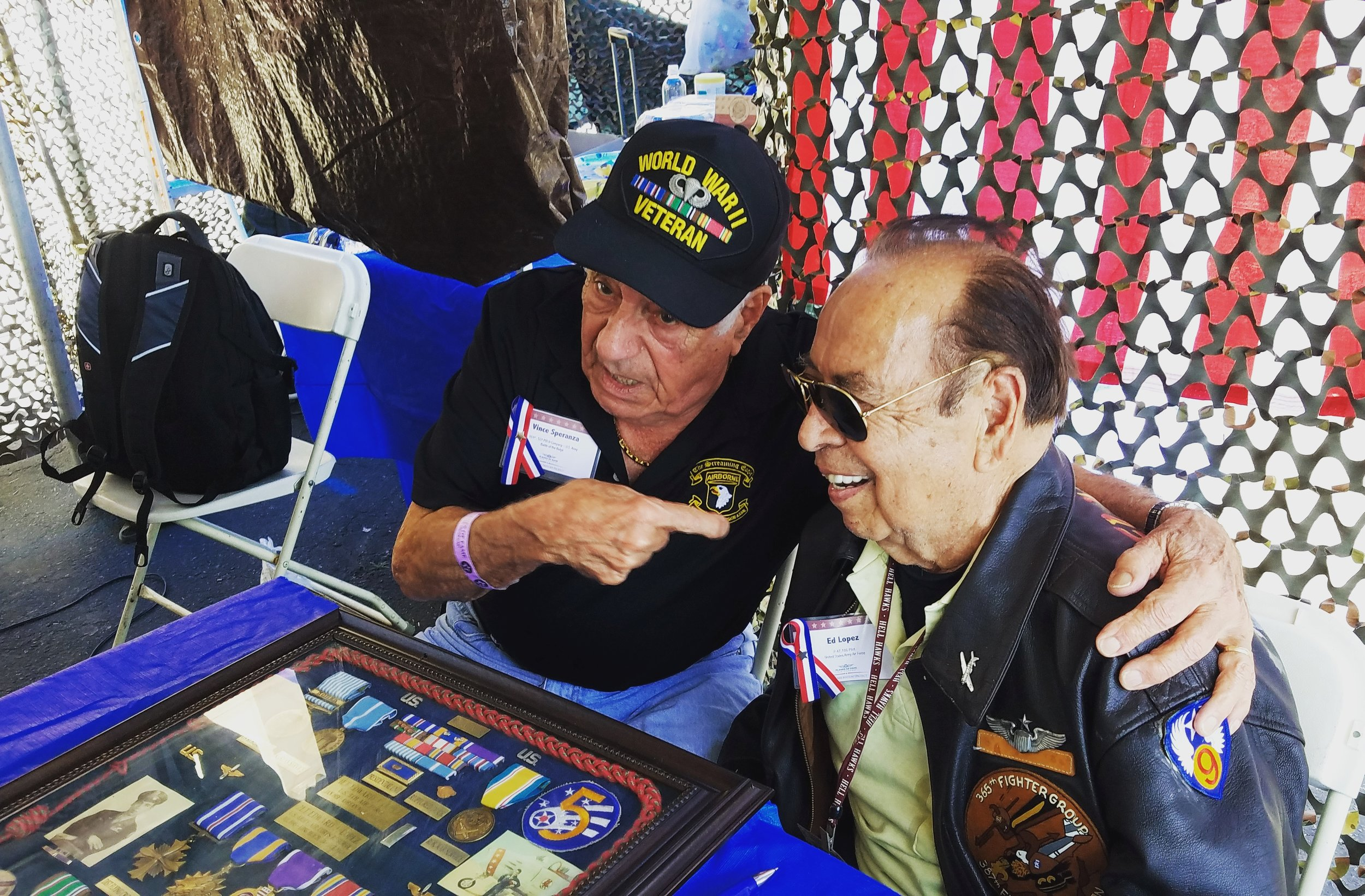 Vince Speranza (101st Airborne WWII) talks with P-47 Pilot, Ed Lopez